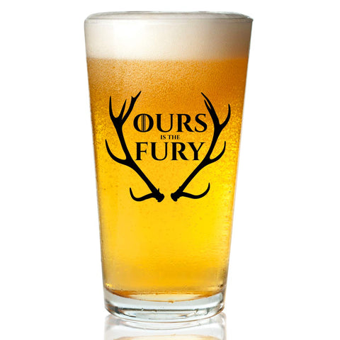 Game of Thrones Inspired Beer Glass (16 oz)- Baratheon Royal House of Westeros with Sigil & Motto Ours Is The Fury- Gift for Dad, Men, Friends, Him or GOT Fan- Made in USA- GOT Watch Party Supplies