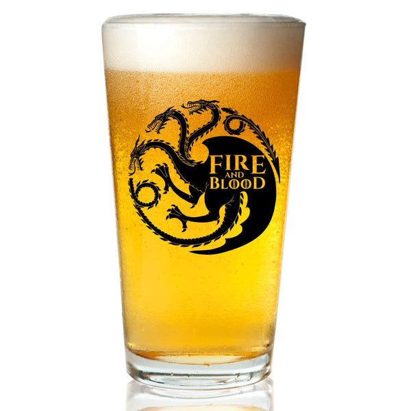 Game of Thrones Inspired Beer Glass (16 oz)- Targaryen Royal House of Westeros with Sigil & Motto Fire And Blood- Gift for Dad, Men, Friends, Him or GOT Fan- Made in USA- Fun Watch Party Supplies