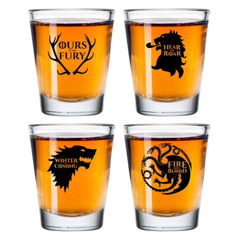 Game of Thrones Inspired Shot Glasses Set of 4 (1.75 oz)- Royal House of Westeros Sigils Stark, Bratheon, Lannister, Targaryen- Gift for Dad, Men, Friends, Him or GOT Fan- Made in USA- Fun Watch Party