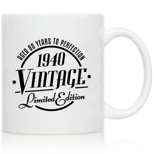 1940 Vintage Edition 80th Birthday Coffee Mug for Men and Women (80th Anniversary) 11 oz- Ceramic Happy Birthday Coffee Cup | Classic Birthday Gift, Reunion Gift for Him or Her | Front and Back Print