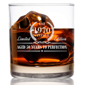 1970 Vintage Edition Birthday Whiskey Scotch Glass (50th Anniversary) 11 oz- Elegant Happy Birthday Old Fashioned Whiskey Glasses- Classic Lowball Rocks Glass- Cool Birthday Gift, Reunion Gift