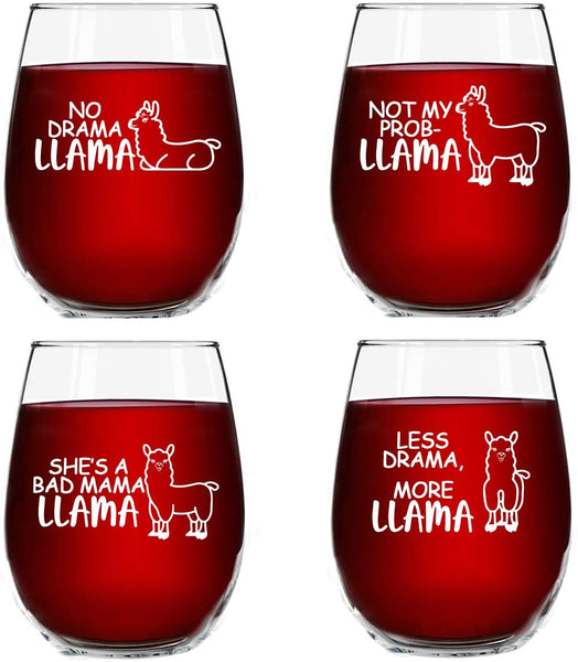 Llama Funny Stemless Wine Glass Set- 4 Pack of Glasses- No Drama Llama, Not My Prob-Llama, She's A Bad Mama Llama, Less Drama More Llama- Novelty Wine Glasses with Cute Sayings for Women- Made in USA