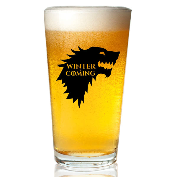 Game of Thrones Inspired Beer Glass (16 oz)- Stark Royal House of Westeros with Sigil & Motto Winter is Coming- Gift for Dad, Men, Friends, Him or GOT Fan- Made in USA- Fun GOT Watch Party Supplies