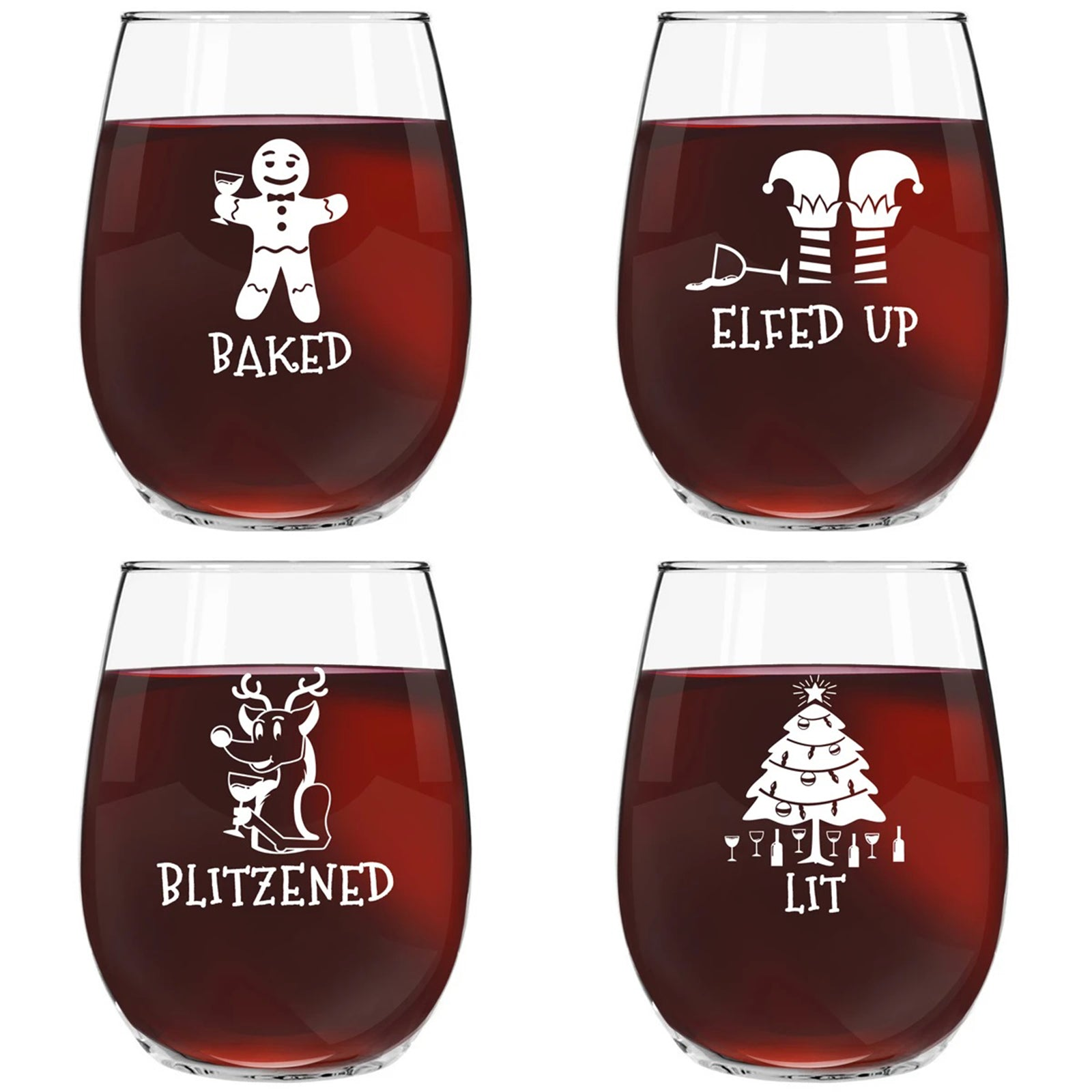 Drunk Christmas Funny Stemless Wine Glass (Set of 4) - 15 oz - Tipsy, Cheerful Holiday Party Cups- Gift Exchange Idea to Celebrate Xmas