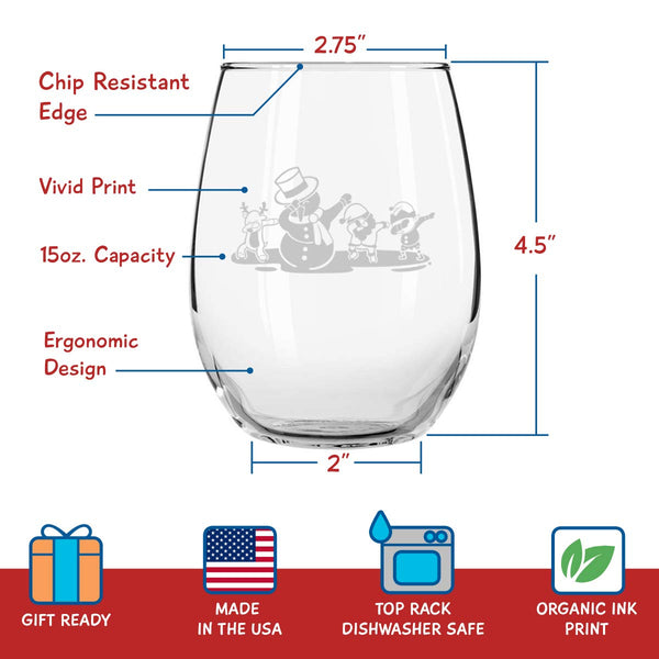 Dancing Christmas Figures Funny Stemless Wine Glasses Set of 4- Hilarious Xmas Themed Wine Glass for Holiday Party- 4 Unique Designs -15 oz Cheerful Party Cups & Gift Exchange Idea for White Elephant