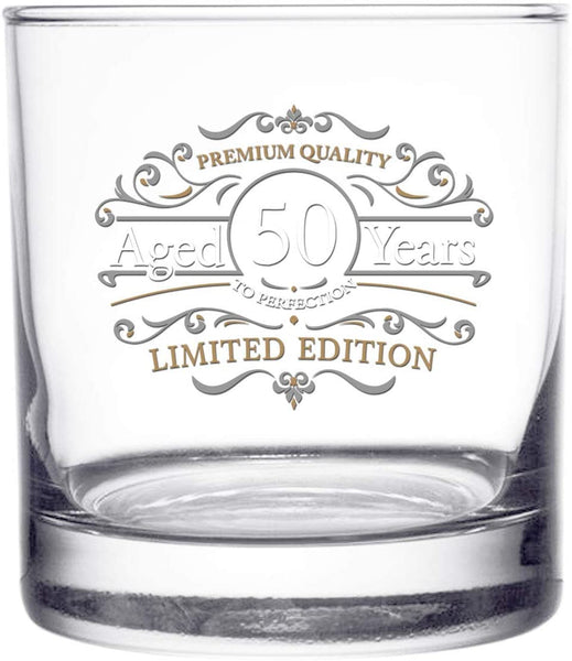 1971 Vintage Edition Birthday Whiskey Scotch Glass (50th Anniversary) 11 oz- Vintage Happy Birthday Old Fashioned Whiskey Glasses for 50 Year Old- Classic Lowball Rocks Glass- Birthday, Reunion Gift