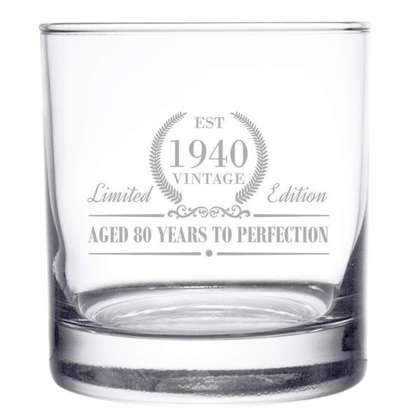 1940 Vintage Edition Birthday Whiskey Scotch Glass (80th Anniversary) 11 oz- Elegant Happy Birthday Old Fashioned Whiskey Glasses- Classic Lowball Rocks Glass- Cool Birthday Gift, Reunion Gift
