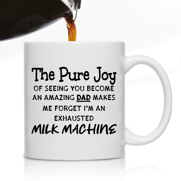 Novelty Coffee Mug for Husband from Wife- Exhausted Milk Machine- Front & Back Print- Gift Idea for Husbands- Best Husband Gift- Gag Father's Day Gift from Wife-New Mom Gift to Dad, Husband, Boyfriend