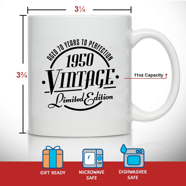 1950 Vintage Edition 70th Birthday Coffee Mug for Men and Women (70th Anniversary) 11 oz- Ceramic Happy Birthday Coffee Cup | Classic Birthday Gift, Reunion Gift for Him or Her | Front and Back Print
