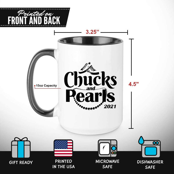 Chucks And Pearls Kamala Harris 2021 Coffee Mug Gift for Women, 11 oz | Tribute The First Madam Vice President | Celebrate Progressive Women | Fun, Empowering Feminist Gift for Her | Black and White