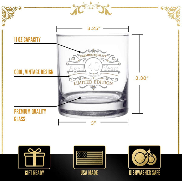1981 Vintage Edition Birthday Whiskey Scotch Glass (40th Anniversary) 11 oz- Vintage Happy Birthday Old Fashioned Whiskey Glasses for 40 Year Old- Classic Lowball Rocks Glass- Birthday, Reunion Gift