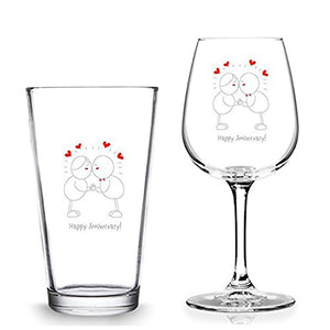Happy Anniversary Beer Wine Set - Wine Glass- 16 oz. Pint Glass - 12.75 oz. Wine Glass - Made in USA