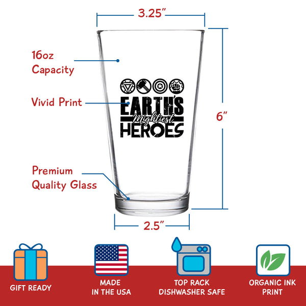 Earth's Mightiest Heroes Funny Beer Glass (16 oz) | Birthday Present for Dad | Best Dad Ever Glass for Dad, Step Dad, New Dad or Grandpa | Daddy Gifts From Daughter, Son | Fathers Day Gift