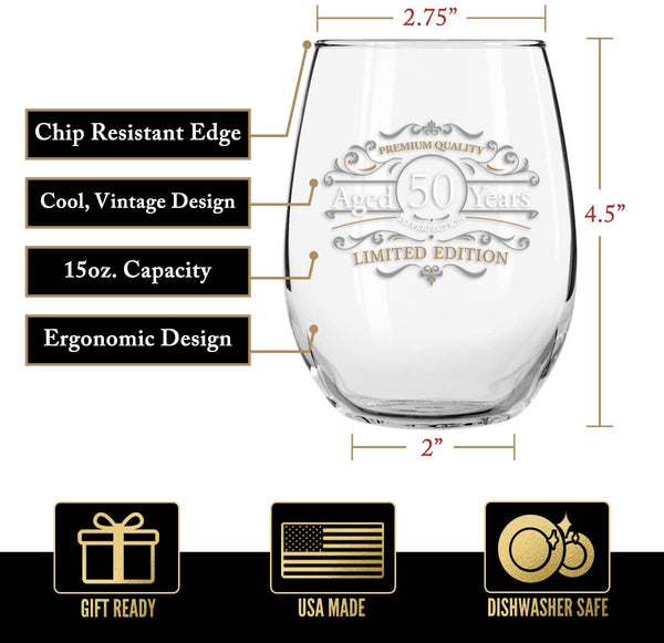 1971 Vintage Edition 50th Birthday Stemless Wine Glass for Men and Women (50th Anniversary) 15 oz | Happy Birthday Wine Glasses for 50 Year Old | Classic Birthday Gift, Reunion Gift for Him or Her
