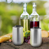 WINE TO GO! Stainless Steel Stemless Wine Glass Tumbler - Set of 2 - Insulated