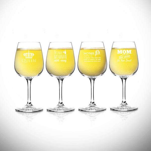 Funny Mom Wine Glasses Set of 4 (12.75 oz) - Birthday Present for Mom- Cute Wine Glass for Mom, New Mom or Grandma- Wine Glass for Mommy Juice- Add to New Mommy Gift Basket- Wine Glass for Women