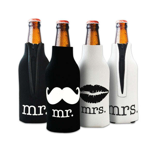 Mr. and Mrs Front and Back Printed Wedding, Anniversary, Newlywed, Bridal Shower Bottle Cooler - Gift for Bride, Mom, Women Her- Present for Couples - Set of 2