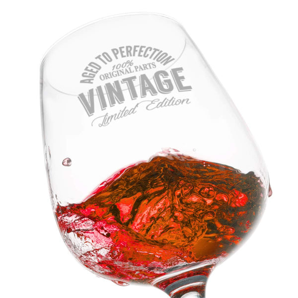 Happy Birthday Vintage Edition Wine Glass for Men and Women (12.75 oz) | Suitable for Any Age | Elegant Wine Glasses for Red or White Wine | Classic Birthday Gift, Reunion Gift for Him or Her