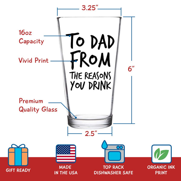 To Mom & Dad From the Reasons You Drink Funny Wine & Beer Glass Set (12.75 oz / 16 oz)- Birthday Present for Parents, Mom and Dad- Anniversary Gifts & New Parents Gifts- New Mom & New Dad Gift Ready