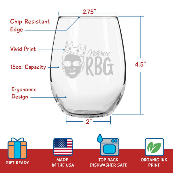 Set of 4 Ruth Bader Ginsburg Wine Glasses (15 oz) | Birthday Present for RBG Fan| Unique Patriotic Glassware Celebrating Women's Rights | Funny & Humorous Feminist Gifts for Women | Made in USA