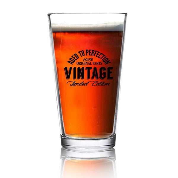 Happy Birthday Vintage Edition Beer Glass for Men and Women (16 oz) | Suitable for Any Age | Elegant Pint Beer Glasses for Craft Beer | Classic Birthday Gift, Reunion Gift for Him or Her