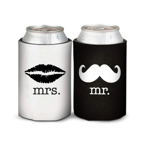 Mr. and Mrs. Wedding, Anniversary, Newlywed, Can Cooler Gift Set - Mother's Day Gift for Mom- Set of 2 Foam