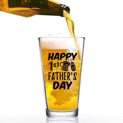 Happy 1st Father's Day Funny Dad Beer Glass (16 oz) | Birthday Present for Dad | Best Dad Ever Glass for Dad, Step Dad, New Dad or Grandpa | Daddy Gifts From Daughter, Son | Gag Fathers Day Gift