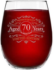 1951 Vintage Edition 70th Birthday Stemless Wine Glass for Men and Women (70th Anniversary) 15 oz | Happy Birthday Wine Glasses for 70 Year Old | Classic Birthday Gift, Reunion Gift for Him or Her