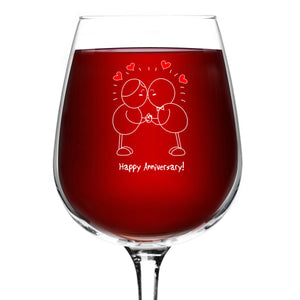 Happy Anniversary! Wine Glass- 12.75 oz. - Romantic Red or White Wine Glass - Made in USA – Cool Present Idea for Anniversary, Newlywed, Wife or Her (Qty. 1)