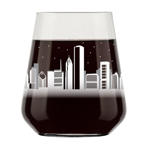 Chicago Skyline Stemless Wine Glass- Cool Chi-Town Souvenir or gift for traveler- Nostalgic Chicago Cityscape Souvenirs- Dishwasher Safe, Non-Toxic, Organic Ink Printed in USA
