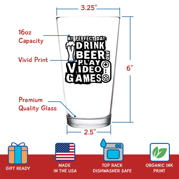 Drink Beer & Play Video Games Funny Gamer Beer Glass (16 oz) | Gamer Birthday Present for Men | Nerdy Gamer Gifts for Men | Video Game Collectors Gifts | Gamer Merchandise