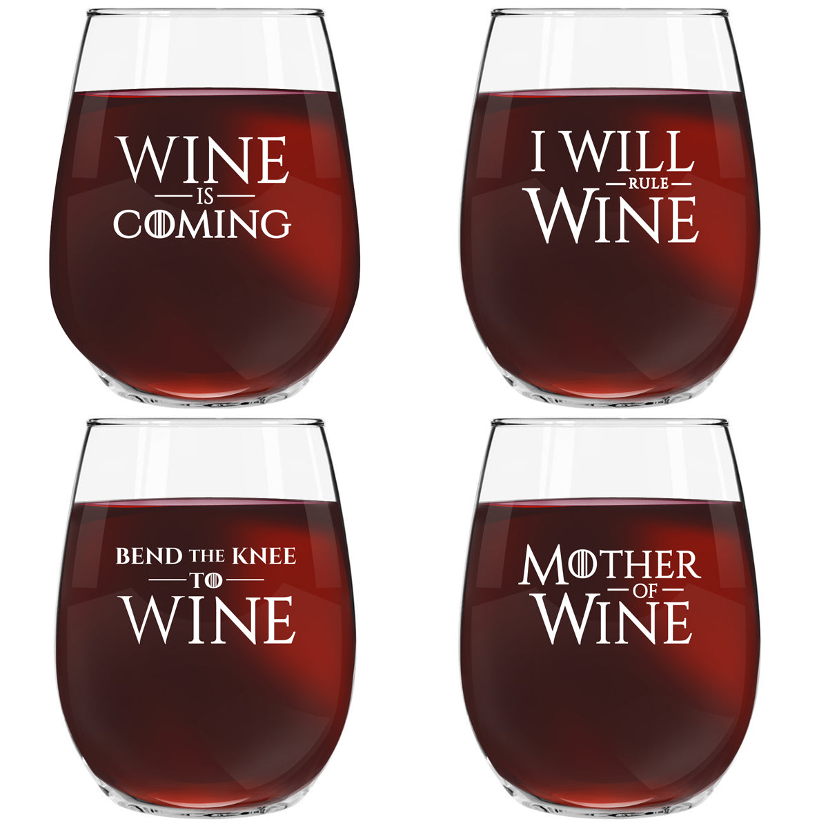 Game of Thrones Inspired Wine Quotes | Set of 4 Stemless Wine Glasses with 4 Unique GOT Themed Messages | Cute 15 oz. Wine Lovers Gift for Women | Dishwasher Safe | Made in USA