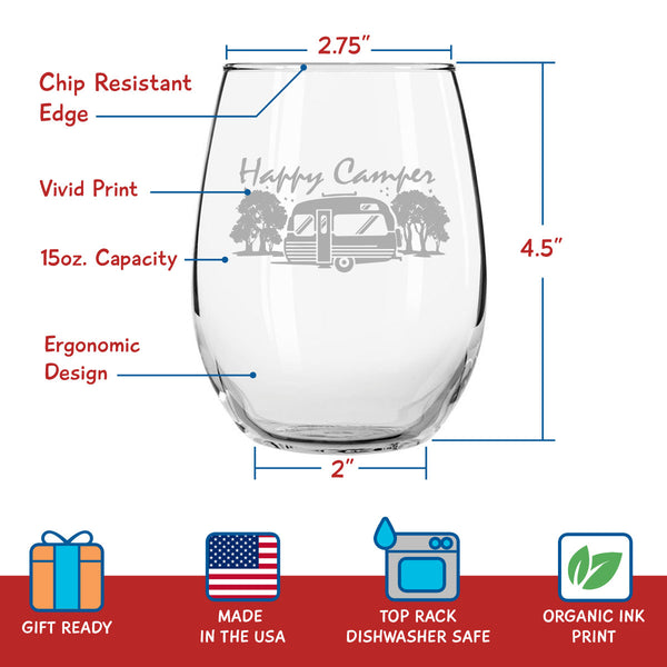 Set of 4 Happy Camper Wine Glasses (15 oz) | Cute Birthday Present for Camping Lovers who Travel | Funny & Humorous RV Camp Gifts for Women | Glamping Accessories | Stemless Wine Glasses Made in USA