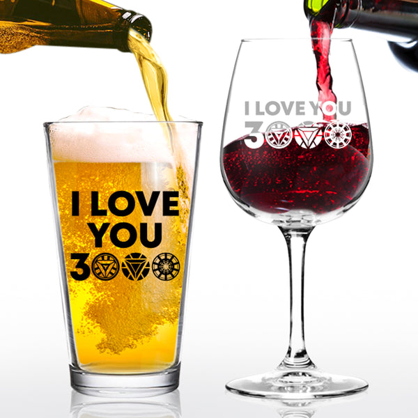I Love You 3000 Funny Beer and Wine Glass Gift Set | Favorite Couples Gift| Anniversary Gift for Mom and Dad | Present for Parents or New Parents Gift | New Mom and New Dad Gift Ready | Wedding Gift