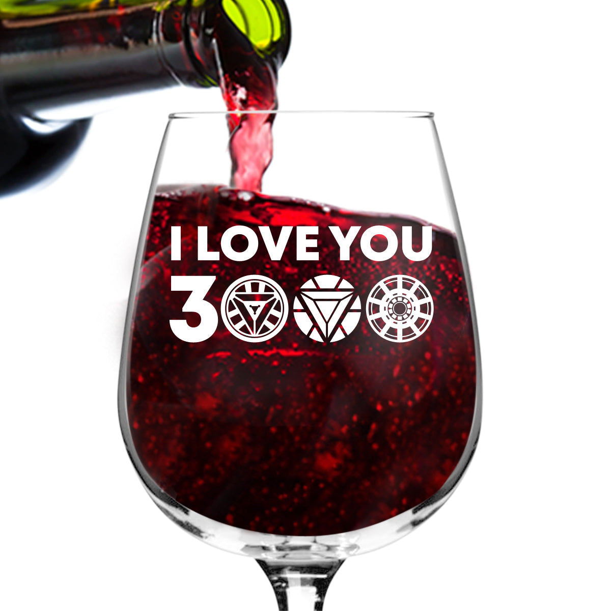 I Love You 3000 Funny Wine Glass (12.75 oz) | Birthday Present for Mom| Best Mom Ever Glass for Mom, Step Mom, New Mom or Grandma | Mommy Gifts From Daughter, Son | Mother's Day Gift for Women