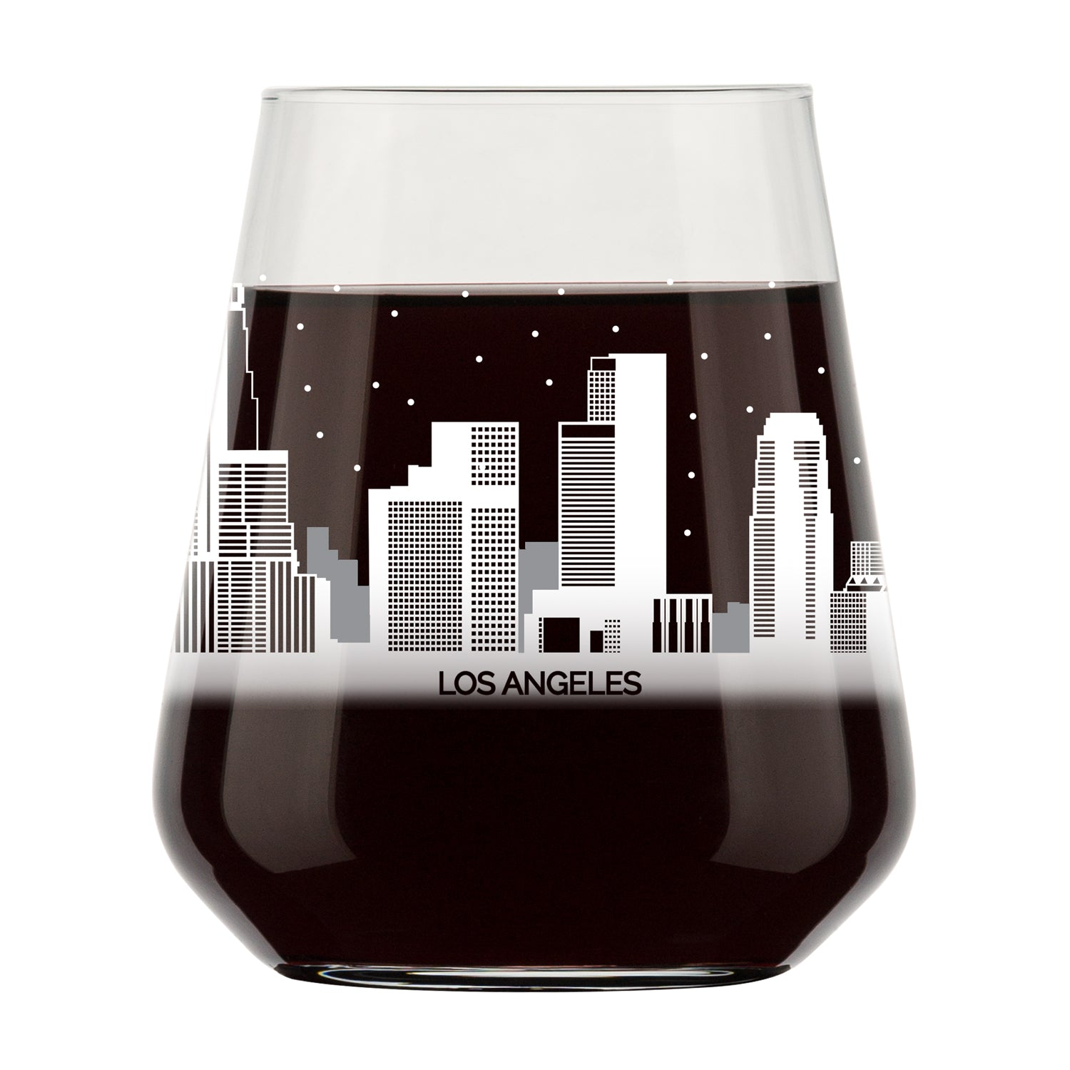 Los Angeles Skyline Stemless Wine Glass- Cool L.A. Souvenir or gift for traveler- Nostalgic Cityscape Los Angeles Souvenirs- Dishwasher Safe, Non-Toxic, Organic Ink Printed in USA