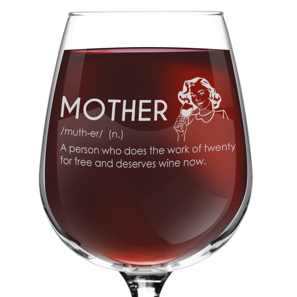 Mother Definition Funny Wine Glass 1275 Oz Made In Usa Du Vino