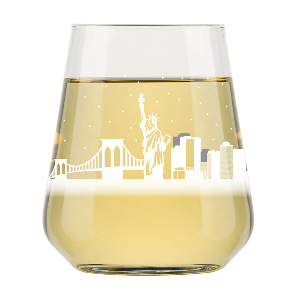 New York City Skyline Stemless Wine Glass- Cool NYC Souvenir or gift for traveler- Nostalgic Cityscape I Love New York Souvenirs- Dishwasher Safe, Non-Toxic, Organic Ink Printed in USA