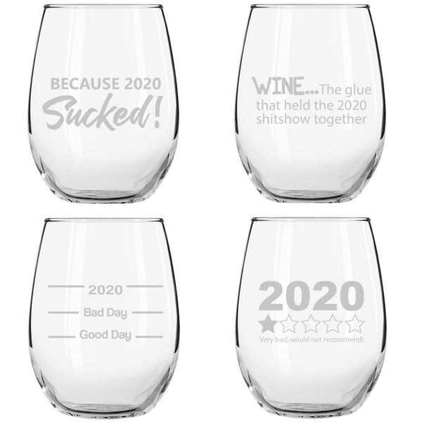 2020 Sucked Funny Stemless Wine Glasses (Set of 4)- Hilarious Novelty Wine Glassware for Women- New Years Eve Party, Event, Hosting Fun- Cute Quarantine 2020 Do Not Recommend Survival Gift