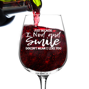 Nod And Smile Wine Glasses (12.75 oz)- Novelty Wine Gifts for Women- Wine Lover Glass w/Funny Sayings- Unique Birthday Present Wine Gift for Her, Wife, Friend- Best Gag Gift for Mom- USA Made