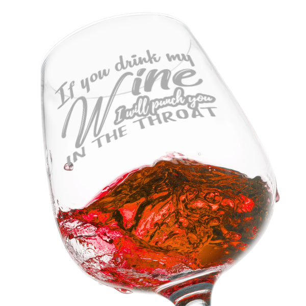 I Will Punch You In The Throat Wine Glass (12.75 oz)- Novelty Wine Gifts for Women- Wine Lover Glass w/Fun Sayings- Unique Birthday Present Wine Gift for Her, Wife, Friend- Best Gag Gift for Mom