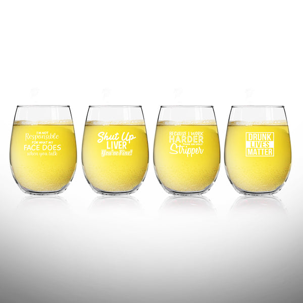 Set of 4 Crude & Rude Funny Wine Glasses (15 oz)- Novelty Glassware Gifts for Women- Hilarious Party, Event, Hosting Fun- Wine Lover Glass w/Funny Sayings- Birthday Wine Gift for Friends- Made in USA