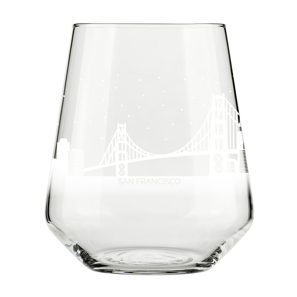 San Francisco Skyline Stemless Wine Glass- Cool Frisco Souvenir or gift for traveler- Nostalgic Cityscape Souvenirs- Dishwasher Safe, Non-Toxic, Organic Ink Printed in USA