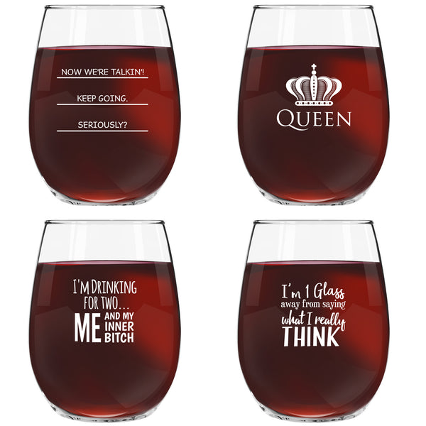 Funny Stemless Wine Glasses Set of 4 (15 oz)- Funny Novelty Wine Glassware Gift for Women- Party, Event, Hosting Fun- Wine Lover Wine Glass with Funny Sayings