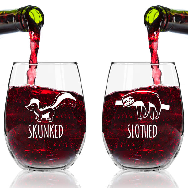 Funny Stemless Wine Glass Set | Animal Pack Set of 4 Glasses | Buzzed, Infoxicated, Skunked and Slothed | Novelty Wine Glasses with Cute Sayings for Women, Her | Quality Made in USA