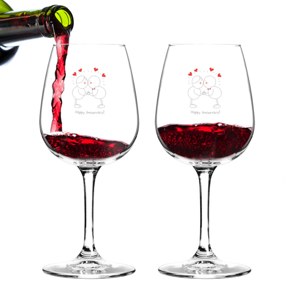 Happy Anniversary Wine Glass (Set of 2) - 12.75 oz - Made in USA
