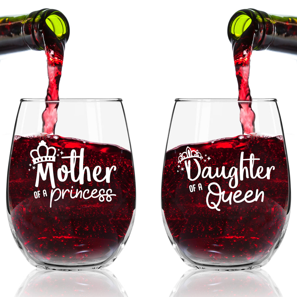 Mother Daughter Wine Glasses Queen And Princess Wine Glass Set Gift Du Vino
