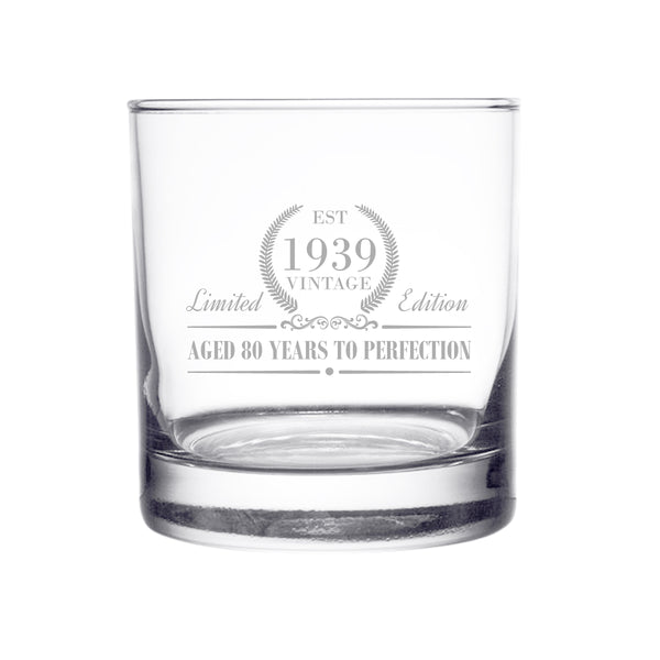 1939 Vintage Edition Birthday Whiskey Scotch Glass (80th Anniversary) 11 oz- Elegant Happy Birthday Old Fashioned Whiskey Glasses- Classic Lowball Rocks Glass- Cool Birthday Gift, Reunion Gift