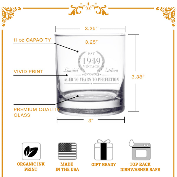 1949 Vintage Edition Birthday Whiskey Scotch Glass (70th Anniversary) 11 oz- Elegant Happy Birthday Old Fashioned Whiskey Glasses- Classic Lowball Rocks Glass- Cool Birthday Gift, Reunion Gift