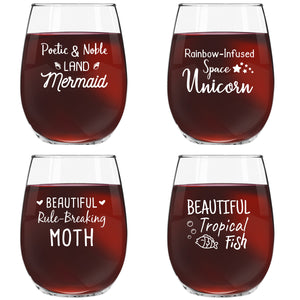 Galentine's Day Stemless Wine Glasses (Set of 4) Inspired by Parks and Rec's Leslie Knope | Funny Novelty Glassware for Party, Event, Valentine's Fun | 4 Hilarious Quotes | Galentine Party Supplies